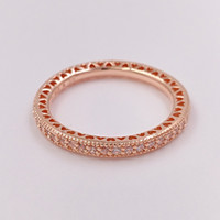 Wholesale Rose Gold Bands - Rose Gold Plated & 925 Sterling Silver Ring Hearts Of Brand European Pandora Style Jewelry Charm Ring Gift 180963CZ