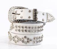 Wholesale Diamond Encrusted - hot sale rhinestone encrusted 3.5cm wide Crystal diamond fashion woman ladies female genuine leather designer belts