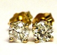 Wholesale Antique Estate - 14k yellow gold .79ct SI3 H round diamond stud earrings vintage estate antique