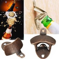 Wholesale Wholesale Wall Beer Bottle Opener - LJ-119 Zinc alloy Chic Vintage Antique Iron Wall Mounted Bar Beer Glass Bottle Cap Opener Kitchen Tools Bottle Openers Beer Opener W SCrew