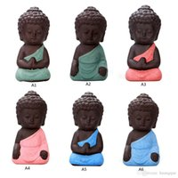 Wholesale Chinese Clay Craft - Buddhism Litlle Meditation Monk Small Statues Miniature Craft Buddha Statues Clay Mini Chinese Buddhism Zen Monks