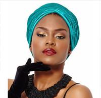 Wholesale Blue Acrylic Tube - NEW women Luxury pleated velvet Turban hijab Head Wrap Extra Long tube indian Headwrap Scarf Tie
