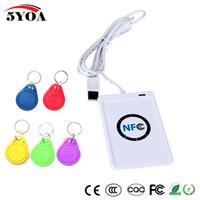escritor de la tarjeta del nfc al por mayor-Duplicador de la copiadora del escritor de tarjetas de 13.56 mhz NFC RFID Smart USB ACR122U para etiquetas NFC (ISO / IEC18092) + 5pcs UID variable