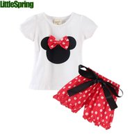 Wholesale Girls One Set Retail - Wholesale- TS Retail one set baby girls summer 2pcs minnie clothing sets short sleeves T-shirt+pant skirt polka dots suits kids outfits