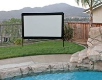 Frame outdoor movie theater screen - 120 Portable Outdoor Movie Screen for backyard theater with PVC front projection cinema matte white