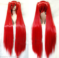 Wholesale Red Miku Wig - Wholesale free shipping >>New wig Heat Resist Vocaloid Miku Long Red Show Anime wig 100cm + Two Ponytails