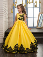 Wholesale Kids Pageant Dresses Size 12 - New Pageant Princess Satin Lace Applique Party Prom Dress Children Kids Long Little Girls Pageant Dresses Yellow Size 8 10 12