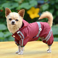 Wholesale Raincoat For Puppies - Puppy Pet Dog Cool Raincoat Glisten Bar Hoody Waterproof Rain Lovely Jackets Coat Apparel Clothes 3 Colors for Free Shipping