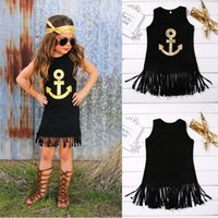 Wholesale Top Selling Baby Girl Dresses - hot selling girl dress Anchor Sleeveless Baby Girls black top Toddler Kids sleeveless cool Dress Casual Party Wedding Age 1-6Year wholesale