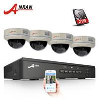 güvenlik hdd toptan satış-ANRAN 4CH NVR 48 V POE CCTV Sistemi Onvif P2P 1080 P 2.0MP Ful HD Vandalproof Dome IR POE IP Kamera Güvenlik Gözetleme Kiti 2 TB HDD Opsiyonel