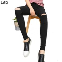 Wholesale Womens Torn Jeans - Wholesale- 2016 High Elastic imitate Skinny Jeans Womens High Waist Torn Jeans Ripped Hole Knee Skinny Pencil Pants Slim Capris For Women