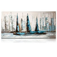 Wholesale Textured Artwork - KGTECH Artist Abstract Palette Knife Thick Textured Acrylic Paintings Sailing Ships Artwork on Canvas Boat Wall Decor 48inch