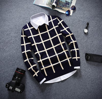 Wholesale Top Brand Wool Sweaters - Wholesale- knitting Men's clothing high quality sweaters spring autumn winter luxury brand plaid man sweater fashion pullovers casual tops