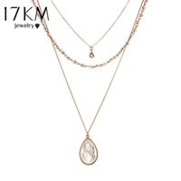 Vente en gros - 17KM Vintage Gold Color Multilayer Chain Crystal Water Drop Pendentif Collier Bead Bar Colares Jewelry Collier bijoux femme