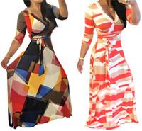 Wholesale Empire Waist Casual Dress - Women's Vintage Floral Print V Neck Long Sleeve Tie Waist Surplice Boho Maxi Dress