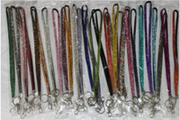 Wholesale neck bling lanyard crystal rhinestone - New Bling Rainbow Rhinestone Lanyard Crystal neck strap Diamond Long Lanyard with Keychain and Clip Badge ID Holder