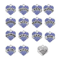Wholesale Pink Rhinestone Charms - Blue Pink white Full Rhinestone Charms Best friend mom Sister Hope Heart Statement Charms Pendant Family series Jewelry Jewelry Findings