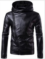Wholesale Diagonal Zipper Clothes - New Men's clothing Plus size leather jacket diagonal leather jacket British leather jacket hot coat