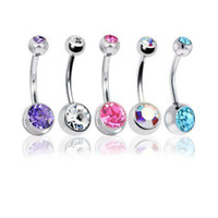 Wholesale Gem Belly Bar - 5Pc Lot 14G Unisex Women Men Mix Body Jewelry Piercing Crystal Double Gem Belly Bar Button Ring