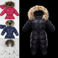 Wholesale Girls Down Jacket Fur - Winter baby snowsuit newborn white duck down 100% Real Raccoon fur hooded jumpsuit infant baby girls boys Bodysuits down jacket
