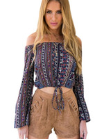 Wholesale Tribal Blouse - Boho Off Shoulder Blouse Tie Up Crop Top Cropped Long Sleeve Loose Striped Tribal Print Retro Ladies Plus Size Free Shipping