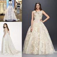 Wholesale Dresses Civil Wedding - 2018 Oleg Cassini vintage Lace Puffy Skirt Wedding Dress 2017 Sheer Neck Overskirts Lace Applique garden civil Country Wedding Gowns