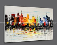 Wholesale Dafen Oil - Framed Urban Landscape,Pure Hand Painted Modern Wall Decoration Abstract Art Oil Painting On High Quality Canvas.Multi sizes dafen