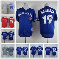 Wholesale Majestic - 2016 Majestic new Toronto Blue Jays jerseys cheap #19 Jose Bautista jersey throwback baseball #20 Josh Donaldson #6 Marcus Stroman jersey