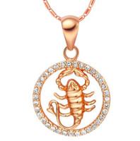 Wholesale Pisces Pendant Necklace - Rare 12 Zodiac Aries Taurus Gemini Cancer Leo Virgo Libra Scorpius Sagittarus Capricornus Aquarius Pisces Pendant Gold Necklace