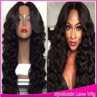 Wholesale Part Middle Styles - Synthetic Lace Front Wig Long Body Wave Beauty Synthetic Cheap Wavy Wig Lace Front Black Hair Middle Part Style For Black Women