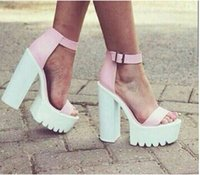 Wholesale Jeffrey Campbell High Heel Sandals - Fashion Jeffrey Campbell Fabrizio Sandals White Black Pink Ankle Strap Platform heels Stillettos Leather Sandals Women Sandals Shoes