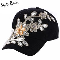 Wholesale Black Floral Jeans - Wholesale- [Sept.Rain] The most 2017 New Fashion Adjustable Women Diamond Flower Baseball Cap Summer Style Lady Jeans Hats