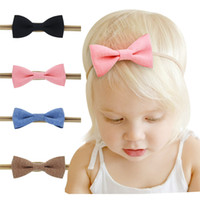 Wholesale 4pcs Girl Baby Kid - 4pcs set New Baby Headbands Bows Girls Elastic Cotton Jute Headband Children Kids Hair Accessories Fashion Nylon Bow Headdress KHA119