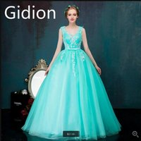 Wholesale Wedding Corsets Blue - New arrival sky blue ball gown sleeveless v neck prom dress lace appliques crystals puffy corset prom gowns sweet 16 dress free shipping