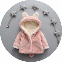 Wholesale Wholesale Faux Coats - Children faux fur coat winter new baby girls cute ear hooded Faux fur coat kids fleece thicken outwear children cartoon coat A0158