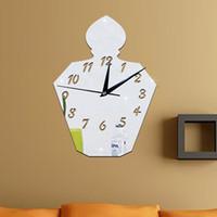 Wholesale Modern Perfumes - Perfume Bottle Mirror Silver Wall Clock Modern American Design Home Decor Watch Wall Sticker alarm