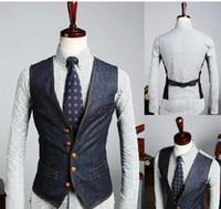 Wholesale Cowboy Sexy Man - Wholesale- Free shipping New fashion V-Neck Men's Waistcoat Sexy Cowboy Vest Mens Vest Coat Suit Vest