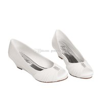 Wholesale Ivory Satin Wedge Heels - women wedge heels crystal satin pregnant wedding shoes bride white red round toe for bridesmaid evening prom party