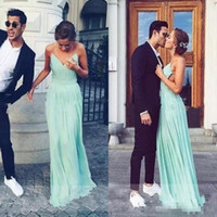Wholesale Modern Plain Dress - 2017 Mint Green Chiffon Prom Dresses Plain Sexy Deep V-Neck Bohemia Backless Party Dresses Evening Wear A Line Pleats Cheap Bridal Gowns