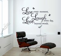 Wholesale Diy Removable Word Wall Stickers - Removable live love laugh wall decals stickers DIY live laugh love vinyl wall art sticker inspirational words wallpaper home decor murals