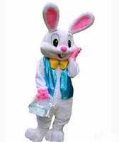 trajes de coelhinho da páscoa venda por atacado-2017 New Easter Bunny Traje Da Mascote Coelho Dos Desenhos Animados Fancy Dress Adulto