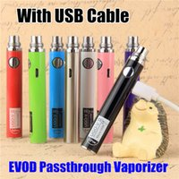 Wholesale Evod Branded - Brand New UGO-V II V2 UGO-T Battery 650 900 1100mah eVod ugo Passthrough E Cigarette 3.3-4.2V Micro Usb Charge Port ego 510 Thread Vape pens