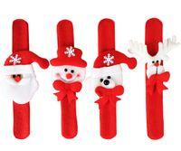 Wholesale Ribbon Bear - Christmas Ornament Christmas slap bracelet bangle Xmas pat circle hand ring Santa Claus snowman bear deer bracelet Christmas gift toy