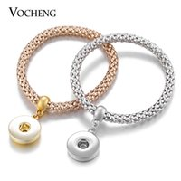 Wholesale Gold Bracelet 18mm - NOOSA Snap Charms Bracelet Ginger Snap Jewelry Interchangeable 18mm Button 2 Colors Plated VOCHENG Vb-045