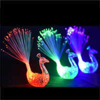 Wholesale Optical Fiber Led Toy - Creative Peacock LED Finger Ring Lights Beams Party Nightclub Color Rings Optical Fiber Lamp Kids Children Halloween Party Supplies 3002055