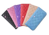 Wholesale Diamond Sheep Leather Case - Sheep Checker PU Leather Wallet Case For Iphone 7 Plus 6 6S Checkered Diamond Frame Holder Card Slot Book Flip Cover Pouch Fashion Skin