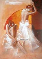 ölgemälde tanzen mädchen großhandel-Gerahmte Louissimo: The Entrance Girl Erotik Tanz nackt, handgemalte Porträts Wandkunst Ölgemälde auf Leinwand. Mehrere Größen Ab140