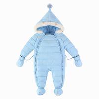 "Wholesale Coat Feathers For Kids - ""Baby Snowsuit Winter Thick Baby Snowsuit For Kids Outerwear With Down Cotton Baby Jumpsuit Girl Boy Bodysuit With Hat Clothing Coat Set"