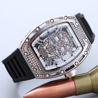 Squelette En Diamant Pas Cher-Silicone watchband strass Diamond inlay Dial Homme / Montre Quartz Femme Hollow Skeleton Ghost Clock Dial Quartz Montres Vente en gros