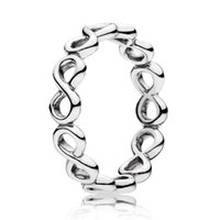Wholesale Cute Bohemian Jewelry - Authentic 925 Sterling Silver Ring Openwork Cute Infinite Love Rings For Women compatible with Pandora jewelry HRC0299